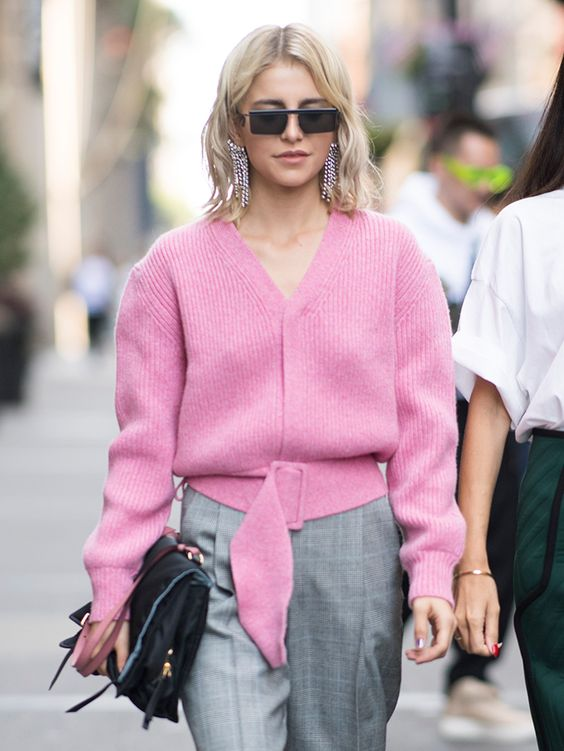 v neck sweater pink plaid