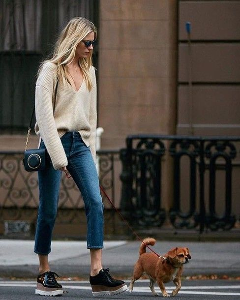 v neck sweater cut jeans