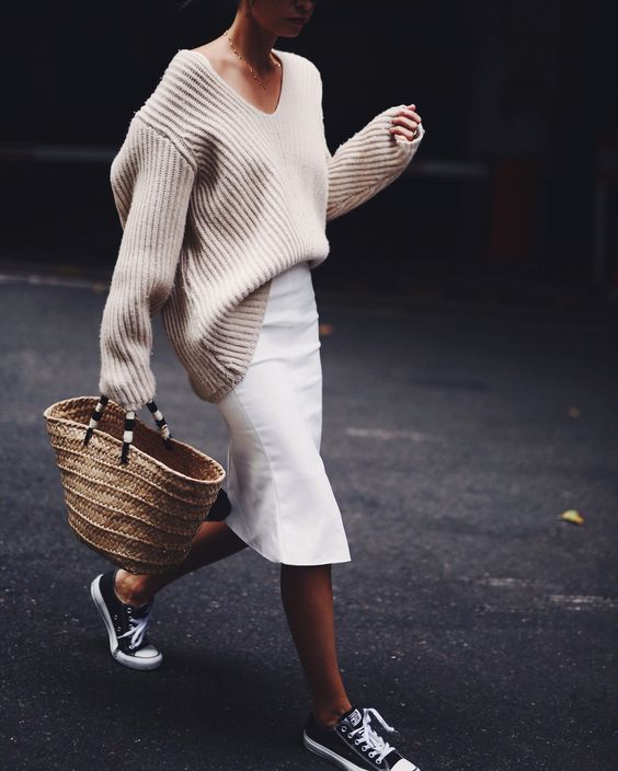v neck sweater white skirt
