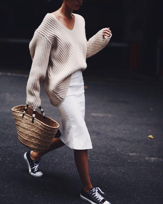 v neck sweater white skirt
