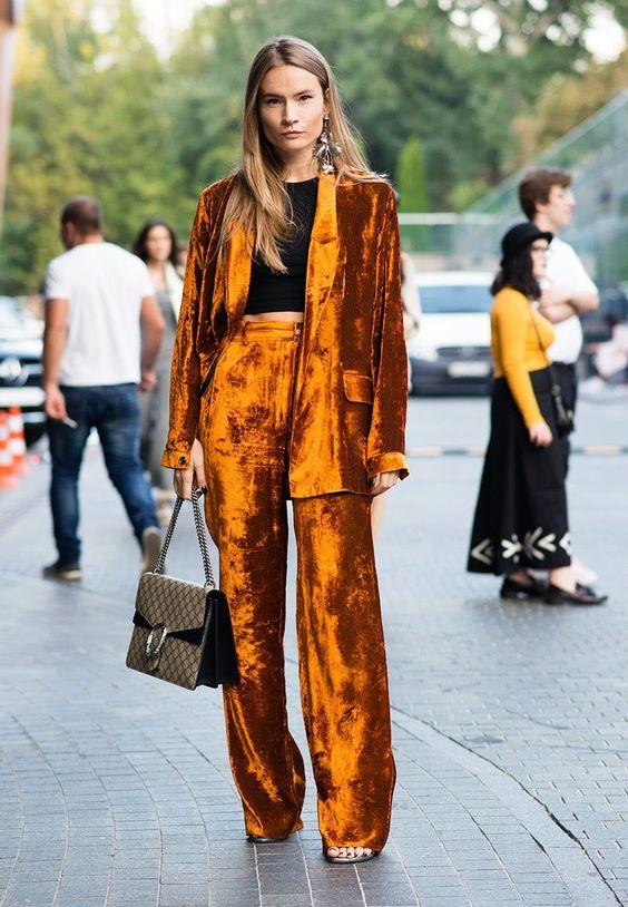 velvet pants pantsuit orange