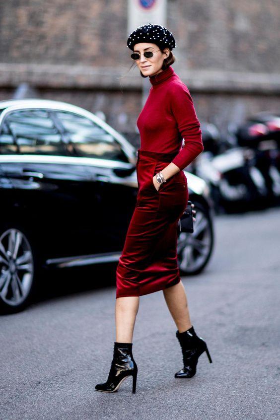 velvet skirt red ruby