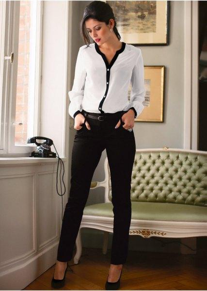 white and black chiffon blouse skinny pants