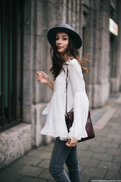 white bell sleeve top black felt hat