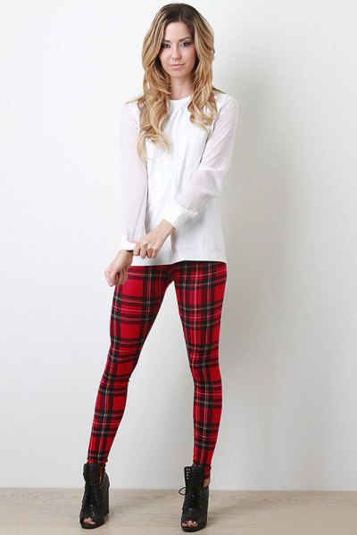 white blouse red and black plaid leggings