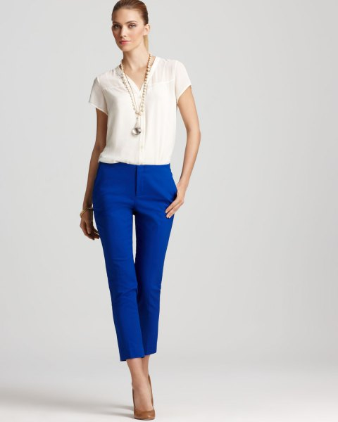 white blouse royal blue cropped pants outfit