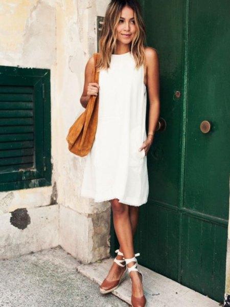 white breezy dress strappy heels