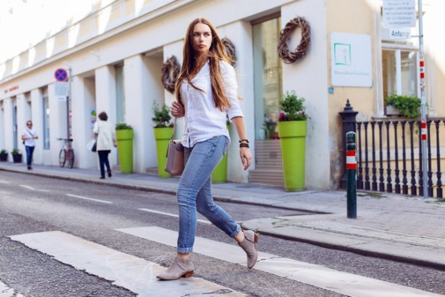 white button up shirt jeans ankle boots