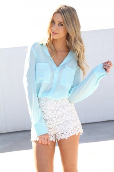 white button up shirt lace shorts