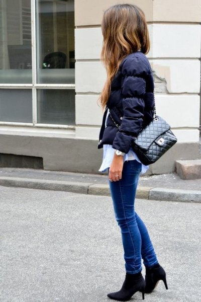 white button up shirt skinny jeans puffer jacket
