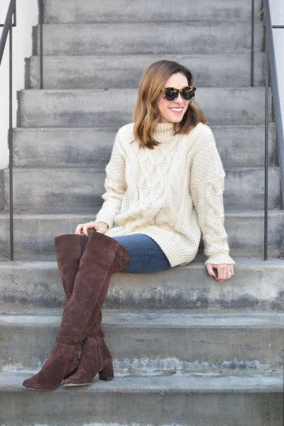 white cable knit sweater suede boots