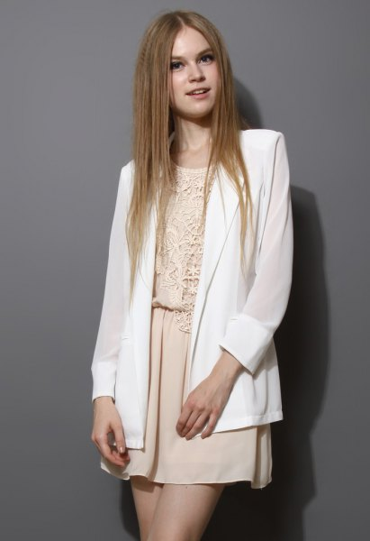 white chiffon blazer cream lace rompers