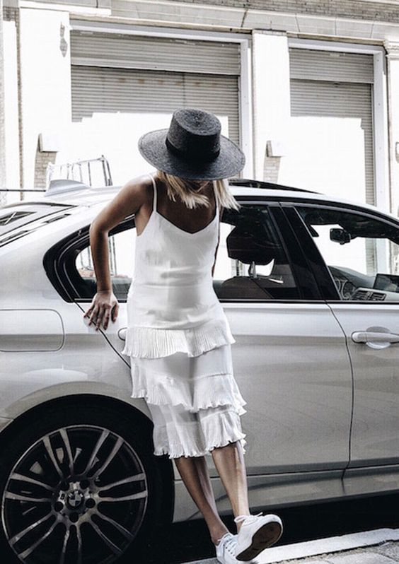 white chiffon dress black hat