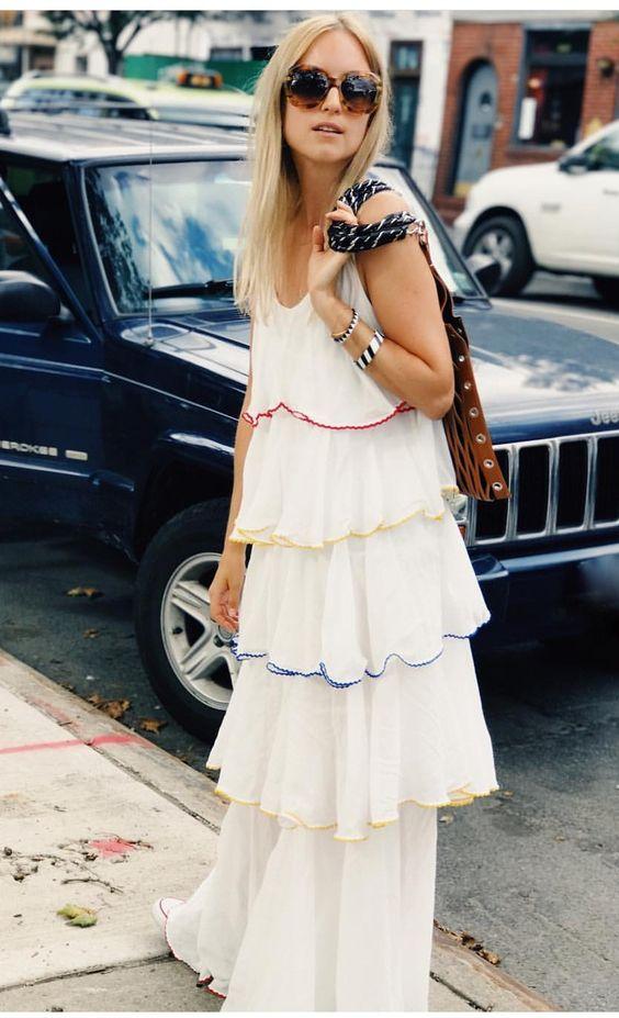 white chiffon dress colorful ruffles