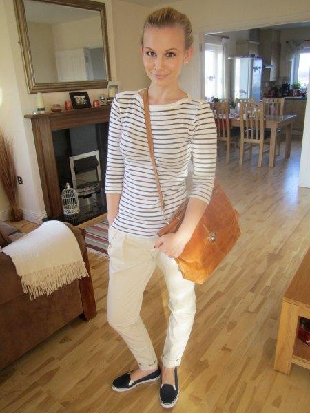 white chinos horizontal striped t shirt