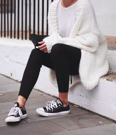 white chunky white sweater cardigan