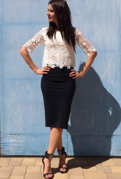 white lace top black pencil skirt