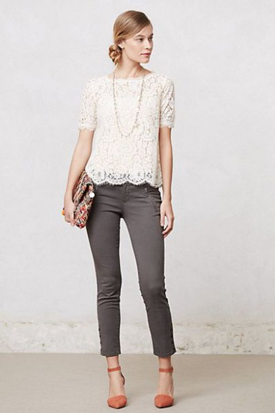 white lace top grey skinny jeans