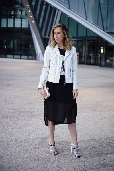white leather jacket black chiffon skirt