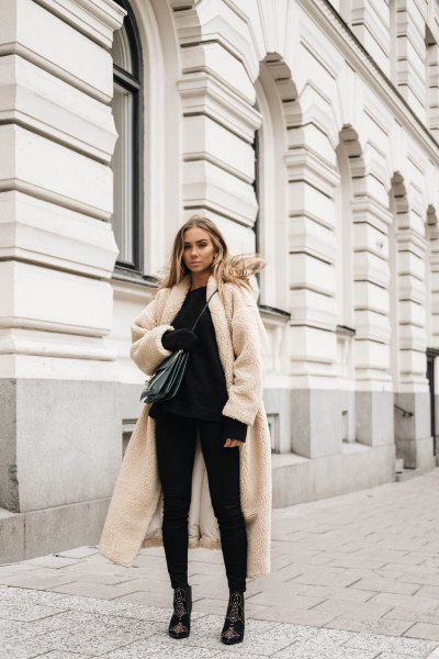 white long teddy jacket all black outfit