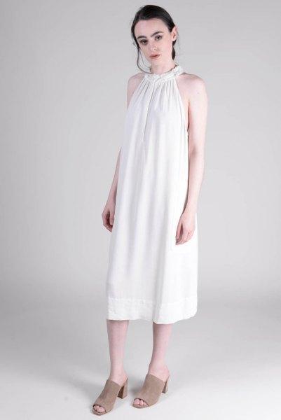 white midi dress grey open toe heels