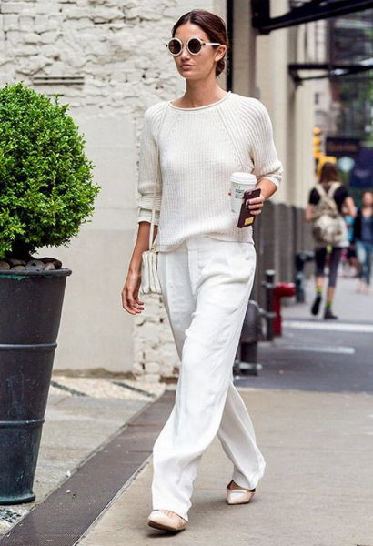 white pants slim fit knit sweater