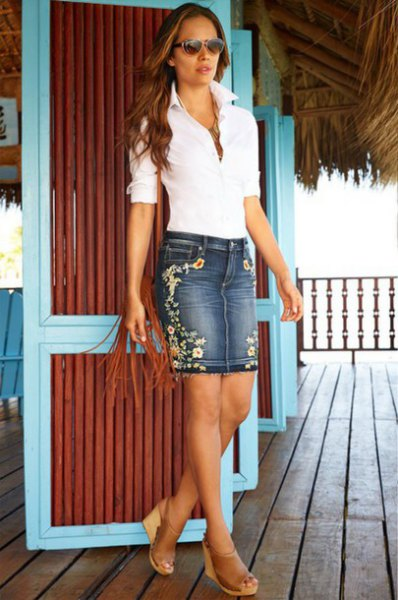 white polo shirt denim skirt