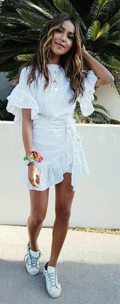 white ruffle top wrap skirt sneakers