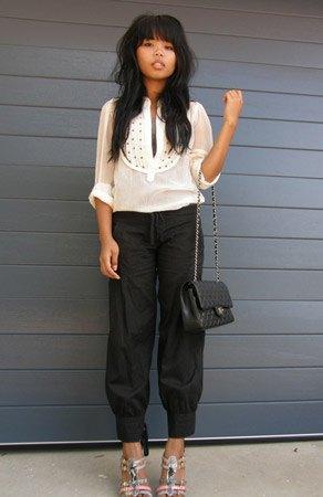 white sheer blouse black harem pants