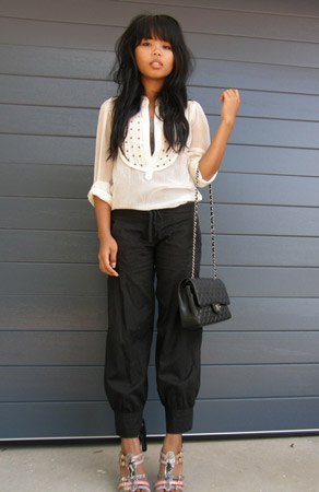white sheer blouse black harem pants
