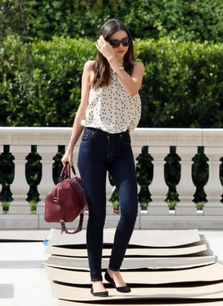 white sleeveless polka dot blouse ballet flats