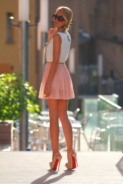 white sleeveless top pink mini skirt
