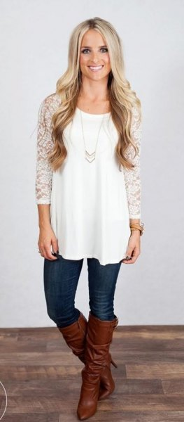white tunic top with lace sleeve