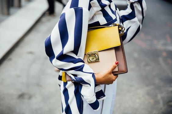 yellow blue outfit bag