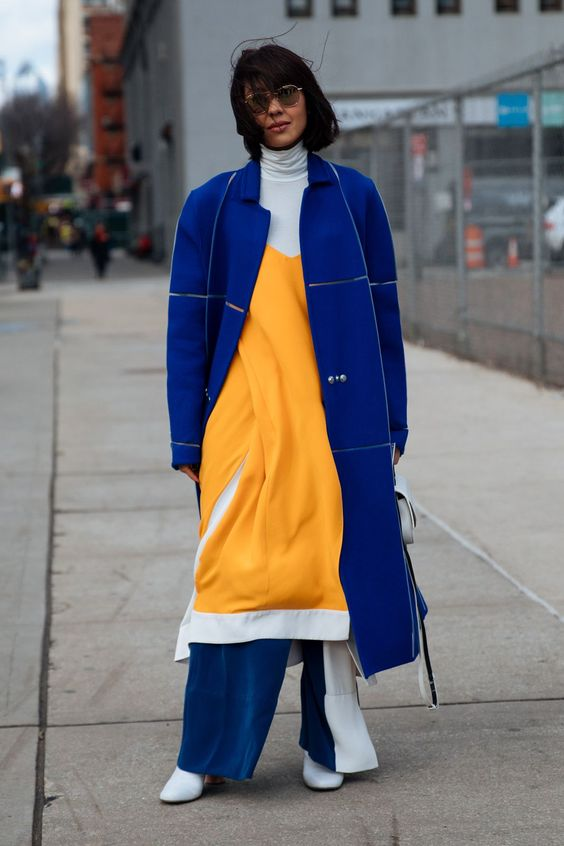 yellow blue outfit coat