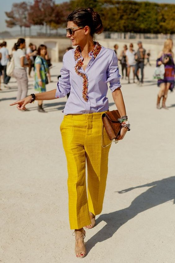yellow blue outfit pants
