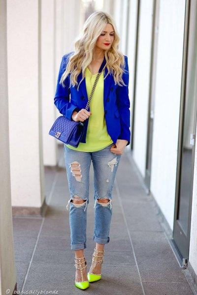 yellow studded heels royal blue blazer