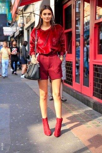 all red outfit velvet top wool shorts