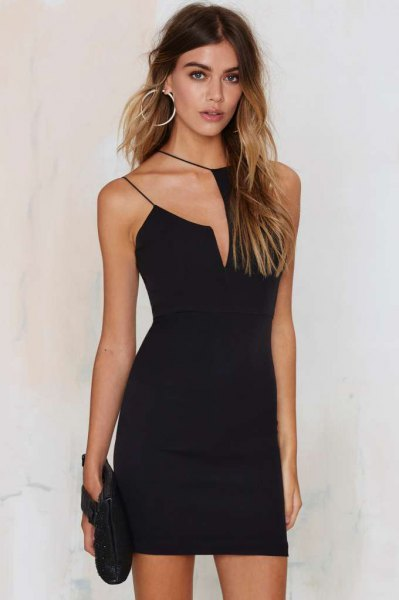 asymmetric shoulder black strappy dress