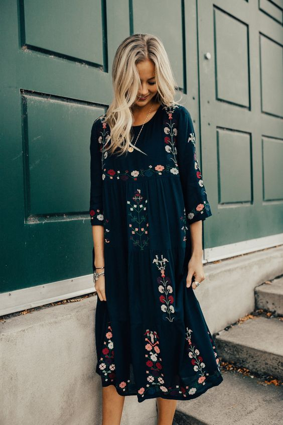navy floral dress embroidery