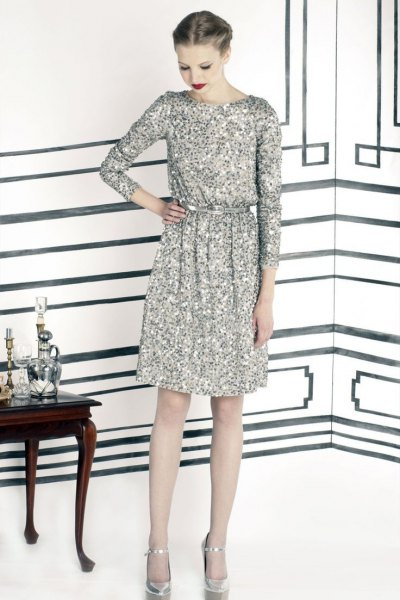 silver-long-sleeve-sequin-dress