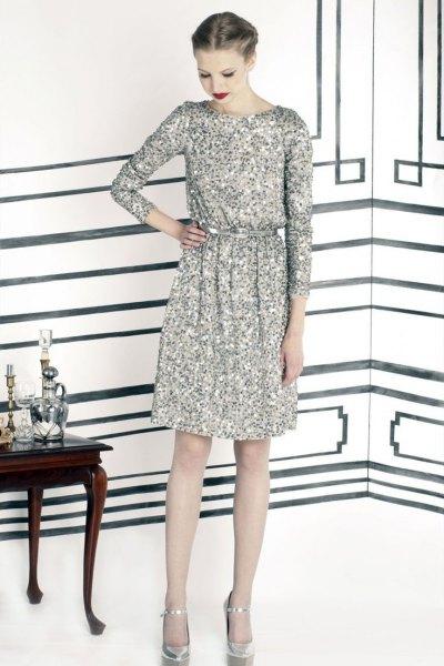 silver-long-sleeve-sequin-dress