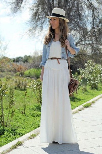 belted maxi dress denim jacket