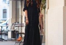 best black floor length dress outfit ideas