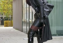 black long leather jacket outfits