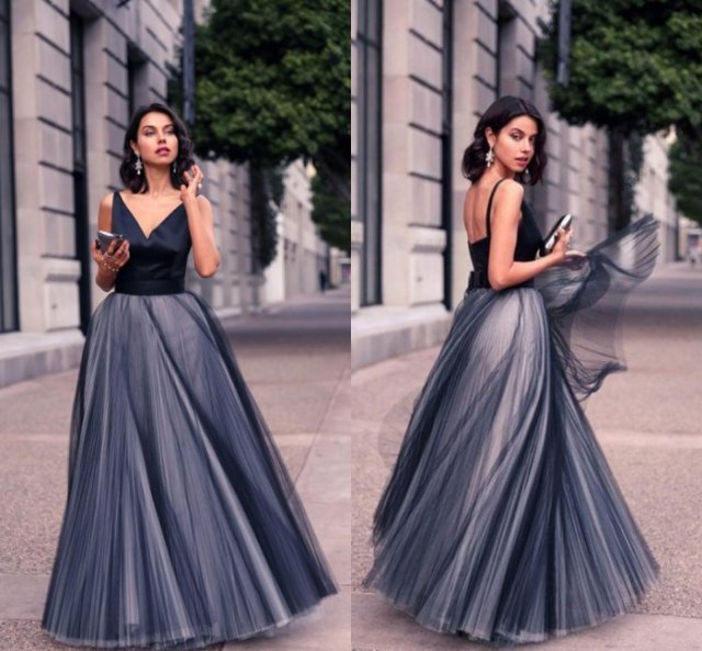 black and grey two toned maxi tulle dress