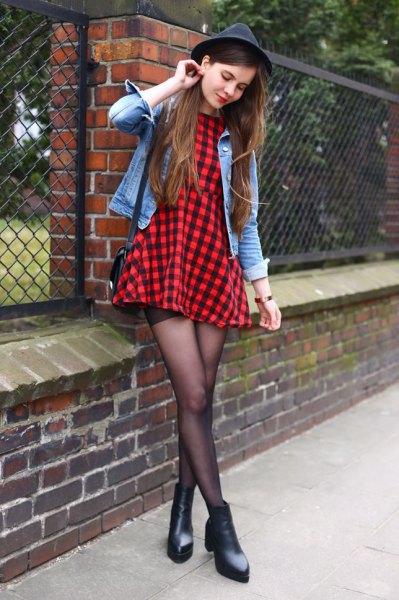 black and red plaid skater dress denim jacket felt hat