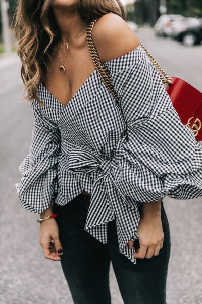 black and white plaid belted off shoulder blouse jeans