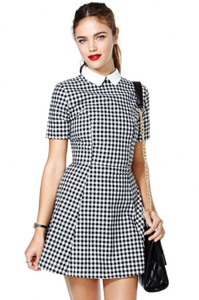 black and white plaid fit and flare mini dress