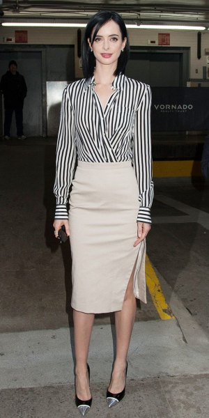 black and white striped wrap shirt pale pink midi skirt